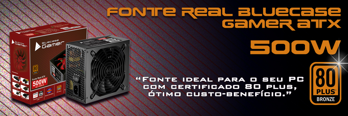 Fonte Real 500W Bluecase